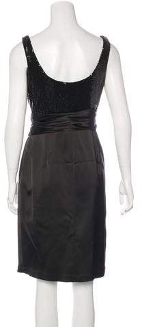 David Meister Satin Embellished Dress