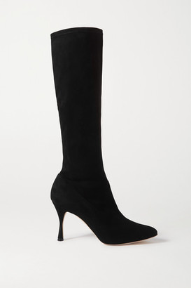 Manolo Blahnik Pamfilo Stretch-suede Knee Boots - Black
