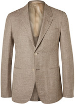 Caruso Beige Butterfly Slim-Fit Unstructured Wool, Silk and Linen-Blend Blazer