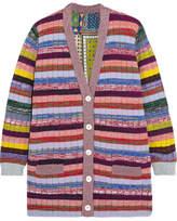 Gucci Reversible Metallic Wool And Silk Crepe De Chine Cardigan - Pink