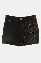 Topshop Moto 'Cross' Embellished Denim Shorts
