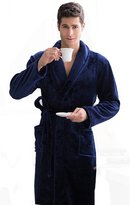 KM bathrobe KM Men's Thicken Long Flannel Pure Colour Bathrobe