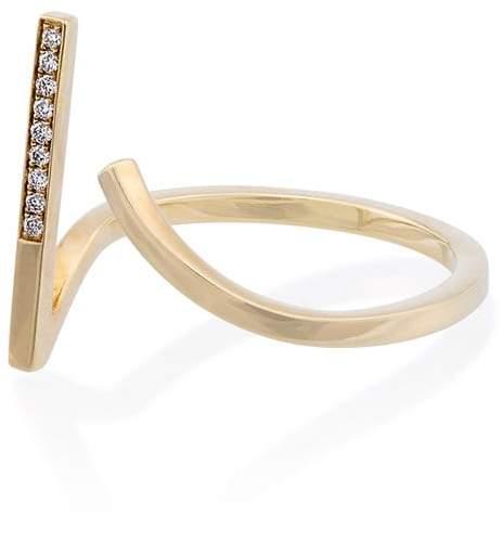 Gap Kova Yellow gold open ring with white diamonds