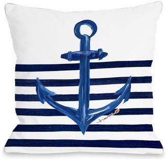 "Anchor Half Stripe Pillow, 18""x18"""