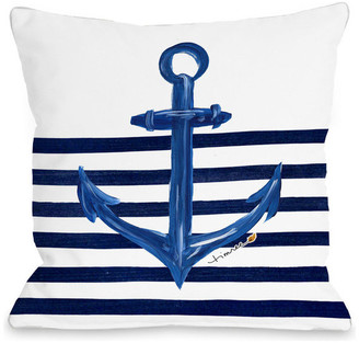 "One Bella Casa Anchor Half Stripe Pillow, 18""x18"""