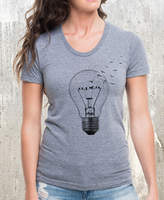 Etsy Women's Broken Light & Birds T-Shirt - American Apparel Women's Tri-Blend T-Shirt