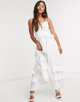 Forever New tiered maxi dress in white
