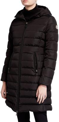 Moncler Talev Long Leather-Trim Puffer Coat