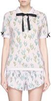 The Upside Grosgrain bow cactus print polo shirt