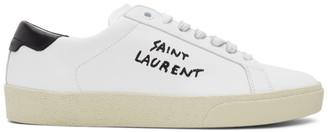 Saint Laurent White Calfskin Court Classic Sneakers