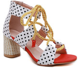 Lola Shoes LoLa Shoes Women's Sandals Red - Red & Navy Rope-Tie Cutout Sandal - Women