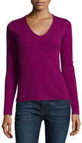 Neiman Marcus Cashmere V-Neck Long-Sleeve Pullover Sweater, Pink