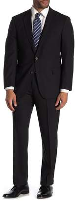 Brooks Brothers Black Solid Two Button Notch Lapel Wool Regent Fit Suit