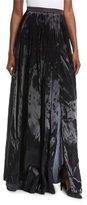 Brunello Cucinelli Liquid-Silk Pleated Ball Skirt with Side Slit