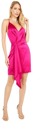 Cushnie Sleeveless Halter Neck Plunging Mini Dress (Azalea) Women's Clothing