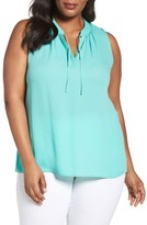 Sejour Plus Size Women's Tie Neck Shell