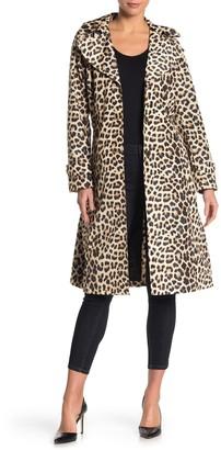 Via Spiga Leopard Print Hooded Trench Coat