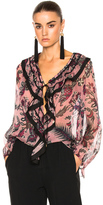 Chloé Cactus Flower Print Light Crepon Blouse in Floral,Pink,Purple.