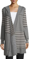 Allen Allen Hooded Striped Patchwork Cardigan