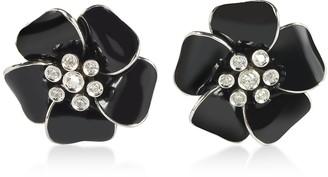 Rosato Sterling Silver and Black Enamel Daisy Earrings