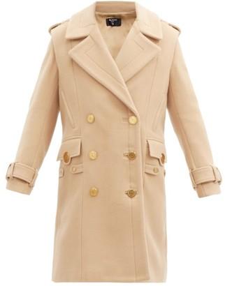 Balmain Double-breasted Wool-blend Military Coat - Beige