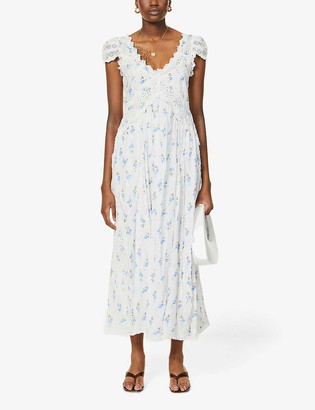 LoveShackFancy Archer broderie-anglaise and floral-print cotton midi dress