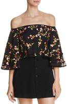 Olivaceous Embroidered Off-the-Shoulder Cropped Top