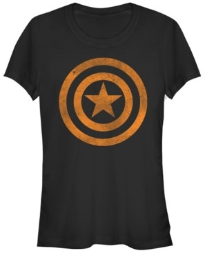 Fifth Sun Marvel Women's Captain America Tonal Orange Cut-Out Short Sleeve Tee Shirt