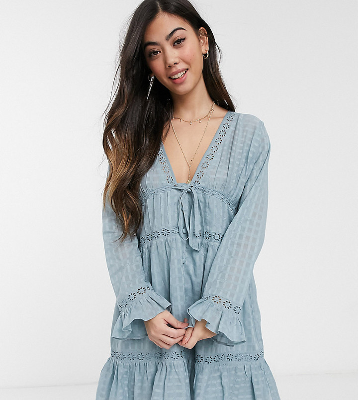 ASOS DESIGN Petite lace insert button through mini smock dress in blue