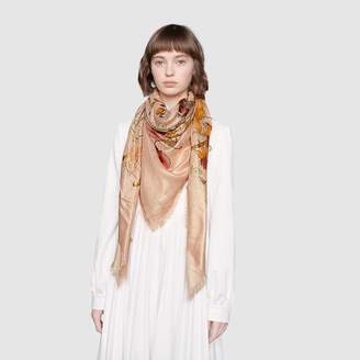 Gucci GG wool lame shawl with Flora print