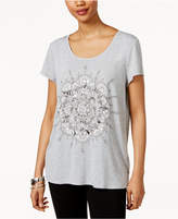 Style&Co. Style & Co Petite Exploded Lotus Graphic T-Shirt, Only at Macy's