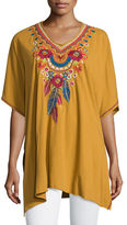 Johnny Was Eeren V-Neck Embroidered Poncho