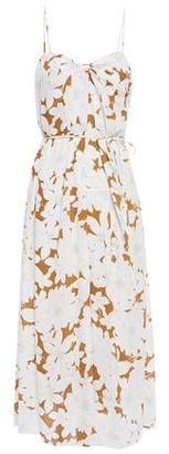 Vince Belted Twist-front Floral-print Crepe Midi Dress