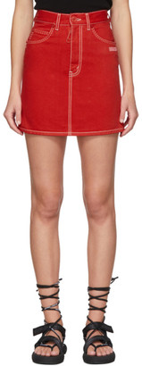 Off-White Red Denim Miniskirt
