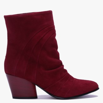 Daniel Casette Red Suede Pleated Ankle Boots