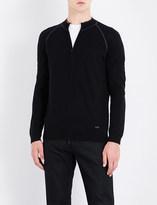 Armani Collezioni Band-collar wool sweatshirt