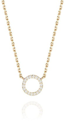 Perle de Lune Halo Diamond Necklace - 18K Gold