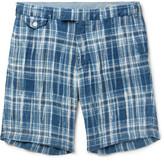 Polo Ralph Lauren Slim-fit Checked Linen Shorts - Blue