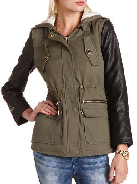 Charlotte Russe Sherpa Lined PU Sleeve Anorak Jacket