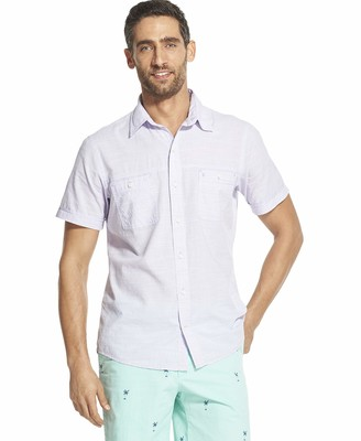 Izod Men's Big and Tall Saltwater Dockside Chambray Short Sleeve Button Down Solid Shirt