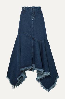 Marques Almeida Asymmetric Frayed Denim Skirt - Mid denim