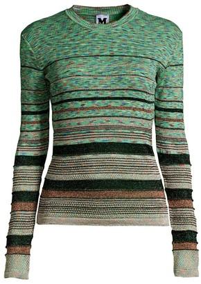 M Missoni Striped Crochet Long-Sleeve Sweater