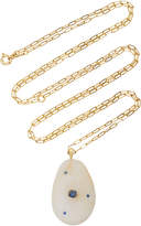 Cvc Stones M'O Exclusive: 18K Gold, Beach Stone And Sapphire Droplet Necklace