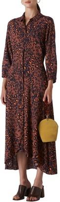 Whistles Amara Brushed Leopard Long Sleeve Shirtdress
