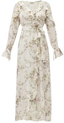 D'Ascoli Bedford Floral-print Ruffle-trim Silk Dress - Womens - Beige