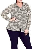 City Chic Plus Size Women's Camo Print Shirt