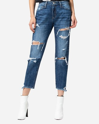 Express Flying Monkey High Waisted Distressed Cropped Boyfriend Jeans