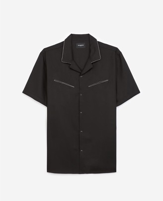 The Kooples Plain black shirt with short sleeves