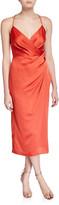 Jay Godfrey Prime Ruched Asymmetric Satin Slip Dress