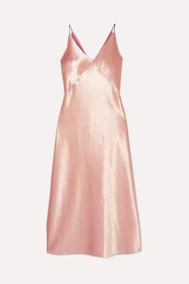 Vince Hammered-satin Midi Dress - Blush